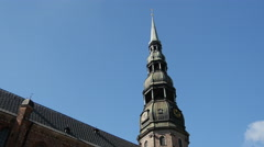 Time lapse from the St. Peter's Church in Riga Latvia Stock Footage