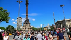 Christopher Columbus Statue in Barcelona, Spain Stock Footage