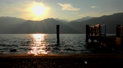 Lake Garda in Italy at sunset, as seen from Malcesine Stock Footage