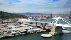 Aerial panorama of ship terminal at Sea Port of Barcelona, Spain Stock Footage