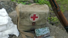 Historical military first aid kit - stock footage