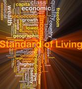 Standard of living background concept glowing - stock illustration