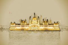 The Hungarian Parliament Building with bright and beautiful illu - stock illustration