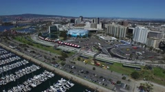 Aerial pan of Downtown Long beach aquarium and Long Beach grand prix Stock Footage