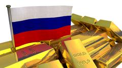 Russian national economy concept with gold bullion - stock illustration
