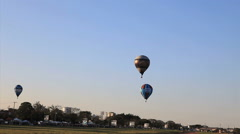 Hot Air Balloons Against A Brights Blue Sky. Brazilian Championship. Rio Claro Stock Footage