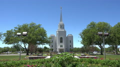 LDS Mormon Brigham City Temple garden front entrance 4K 007 Stock Footage