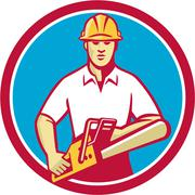 Tree Surgeon Holding Chainsaw Circle Retro - stock illustration