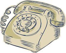Telephone Vintage Etching - stock illustration
