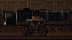 Mormon LDS Brigham City Pioneer Tabernacle pulpit zoom 4K 005 Stock Footage
