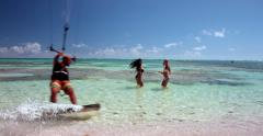Kite boarding, Girls and kite boarding. - stock footage