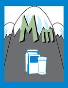 Flash Card Letter M nouns Stock Illustration