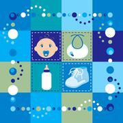 Baby Boy Quilt - stock illustration