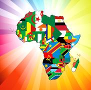 African Continent Flag Map Stock Illustration