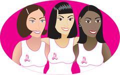Pink Cancer Ribbon Women 2 - stock illustration