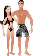 Fit Couple - stock illustration