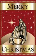 Merry Christmas Red Nativity Stock Illustration