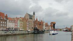 Gdansk, Poland. Ships on Motlawa river. Old town in Gdansk 4K Stock Footage