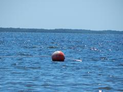 Red Buoy Floating in a Blue Sea - stock photo