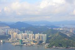Mount Parker view of east kowloon - stock photo