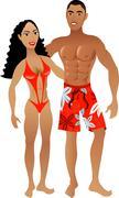 Fit Couple - stock illustration