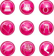 Stock Illustration of Wedding Button Icons
