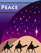 3 Wise Men Card - stock illustration