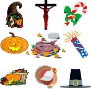 Stock Illustration of Holiday icon set
