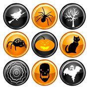 Halloween Button Icons Stock Illustration
