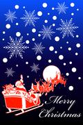 Santa Sleigh Christmas Card - stock illustration
