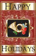 Happy Holidays Gold Horn - stock illustration