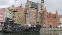 Gdansk, Poland - old town. Galleon ship on Motlwa river - stock footage