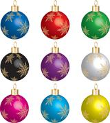 Christmas Ornament Set  - stock illustration
