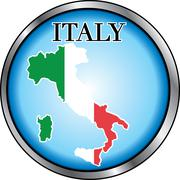 Italy Round Button - stock illustration