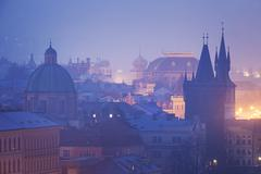 Czech Republic, Prague,  oldtown roofs during twilight - stock photo