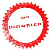 Just Married Ink Stamp - stock illustration