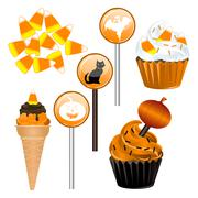 Halloween Candy Cupcakes Stock Illustration