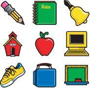 School Icons Stock Illustration