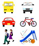 School Transportation Icons Stock Illustration