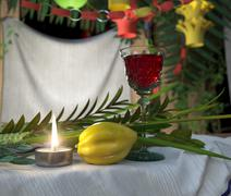 Symbols of the Jewish holiday Sukkot with candle and wine glass - stock illustration