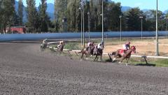 Horse Racing Jockeys - Track Curve Challenge - 01- Slow Motion Stock Footage