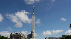 Time lapse from The Freedom Monument a memorial located in Riga, Latvia Stock Footage