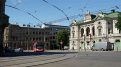 Tram and other traffic in the old town of Riga Latvia Stock Footage