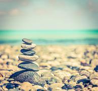 Vintage retro hipster style travel image of Zen meditation background -  bala - stock photo