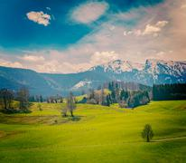 German idyllic pastoral countryside in spring with Alps in background. Bavari - stock photo