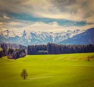 Vintage retro hipster style travel image of German idyllic pastoral countrysi - stock photo