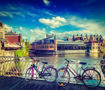 Bicycle is very common and popular transport in Europe. Bicycles in european  - stock photo