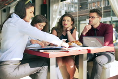 Busy businesspeople working in the restaurant Stock Footage