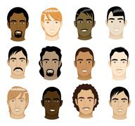 Men's Faces - stock illustration