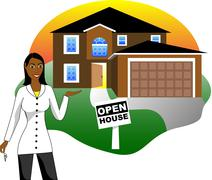 Open House with Agent - stock illustration